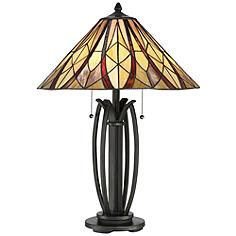 Quoizel Victory Tiffany Style Bronze 2-Light Table Lamp