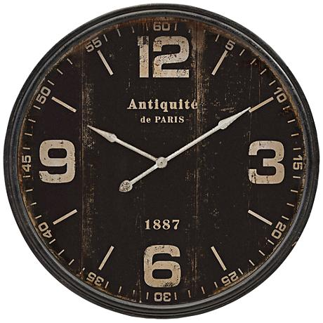 "Robertson Black 38 1/2"" Round Wall Clock"