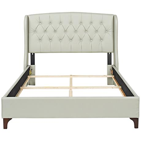 Sophia Gray Diamond-Tuft Faux Leather Headboard Set