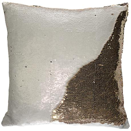 "Aviva Stanoff Champagne and Gold 18"" Square Mermaid Pillow"