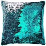 "Aviva Stanoff Turquoise and Silver 18"" Square Mermaid Pillow"