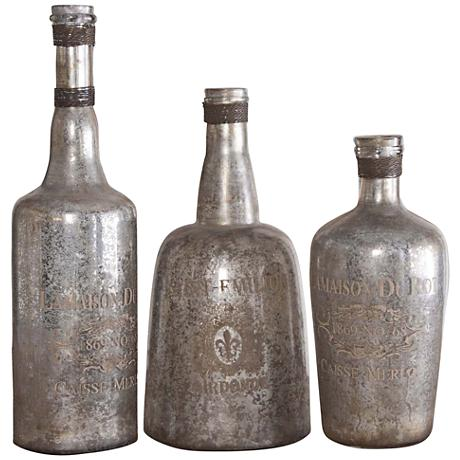 Uttermost Liaison 3-Piece Silver-Mercury Glass Bottle Set