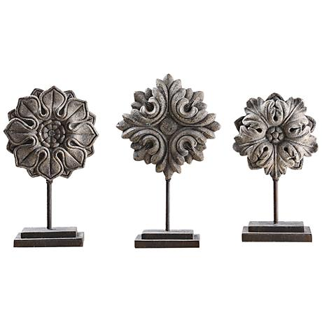 Uttermost Alarik 3-Piece Ivory Floral Sculpture Set