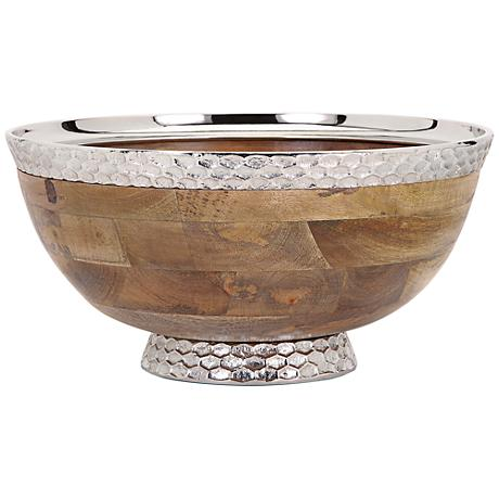 Mango Wood and Aluminum Round Pedestal Bowl