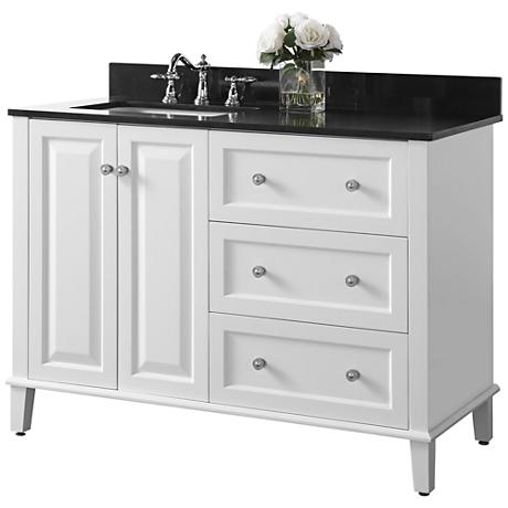 "Hannah White 48"" Granite-Top Off-Center Left Sink Vanity"