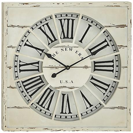 "New Era White Wood 27"" Square Wall Clock"