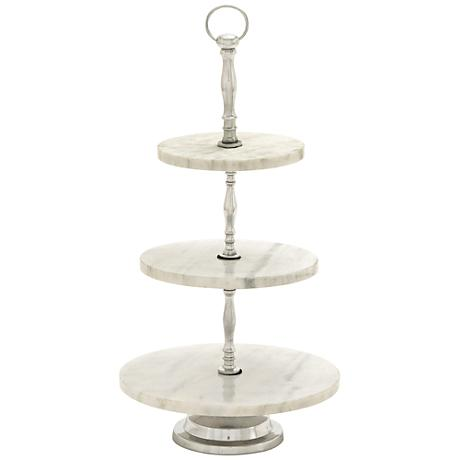 Dana Aluminum and White Marble Decorative 3-Tier Tray