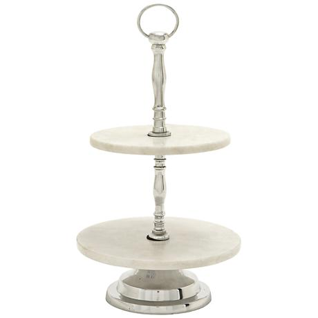 Dana Aluminum and White Marble Decorative 2-Tier Tray
