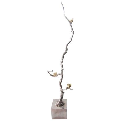 "Solikka Tall Tree Branch 37"" High Aluminum Sculpture"