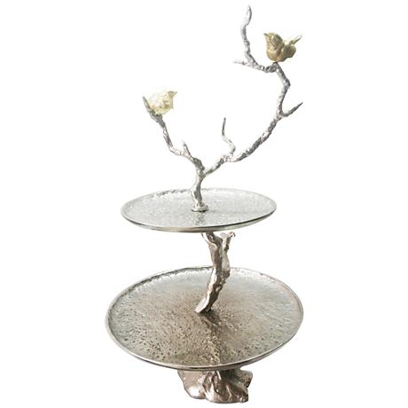"Solikka 2-Tiered Tree Branch 24"" High Aluminum Stand"