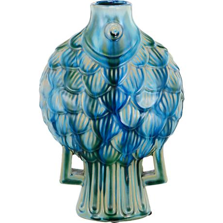 "Meria Fish 12"" High Blue Ceramic Vase"