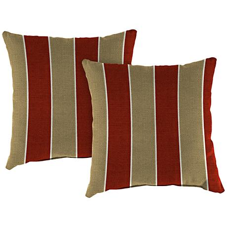 "Wickenburg Cherry 16"" Square Outdoor Throw Pillow Set of 2"