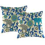"Managerie Sapphire 16"" Square Outdoor Throw Pillow Set of 2"