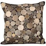 "Nourison Circle Natural Leather 20"" Square Brown Pillow"