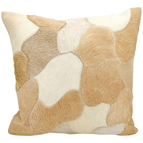"Nourison Jigsaw Puzzle Leather 20"" Square Beige Pillow"