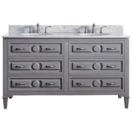 Avanity Kelly Marble-Top Grayish Blue Double-Sink Vanity