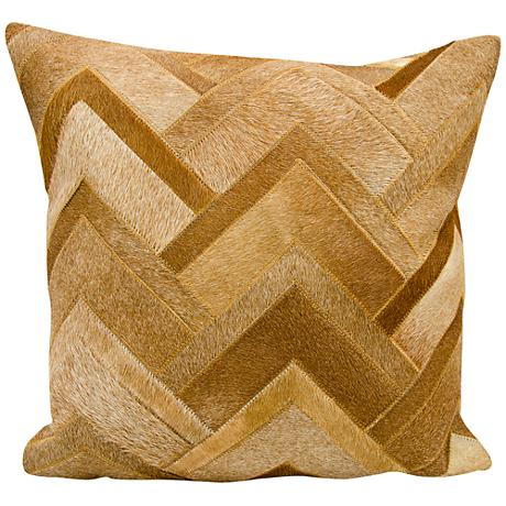 "Nourison Arrowhead Chevron Hide 20"" Square Amber Pillow"