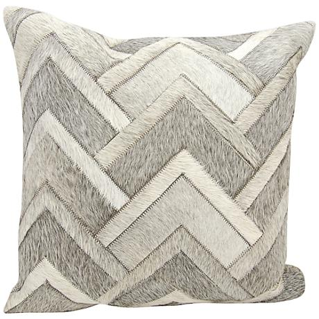 "Nourison Arrowhead Chevron Hide 20"" Square Gray Pillow"