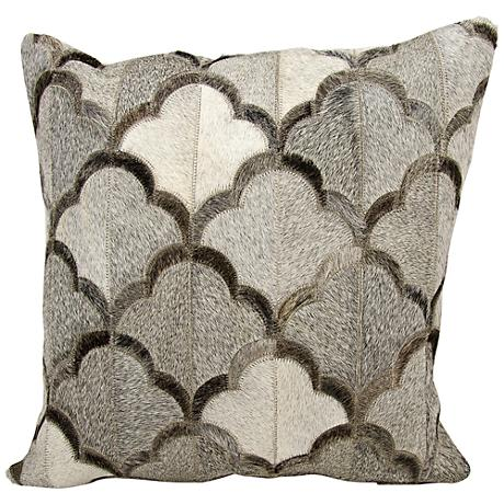 "Nourison Cloud Natural Hide 20"" Square Gray Pillow"