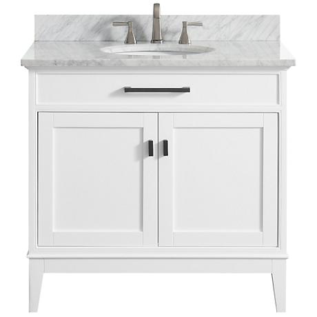 "Avanity Madison 37"" Marble-Top White Single Sink Vanity"