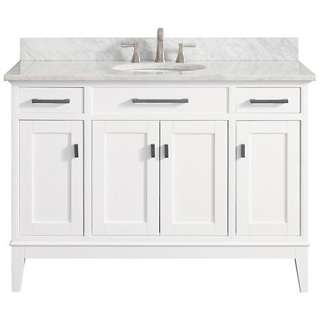"Avanity Madison 49"" Marble-Top White Single Sink Vanity"