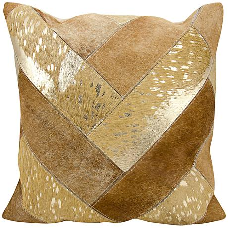"Nourison Jersey Design 20"" Square Beige Gold Pillow"