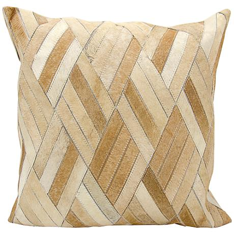 "Nourison Basket Weave Leather 20"" Square Beige Pillow"