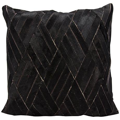 "Nourison Basket Weave Leather 20"" Square Black Pillow"