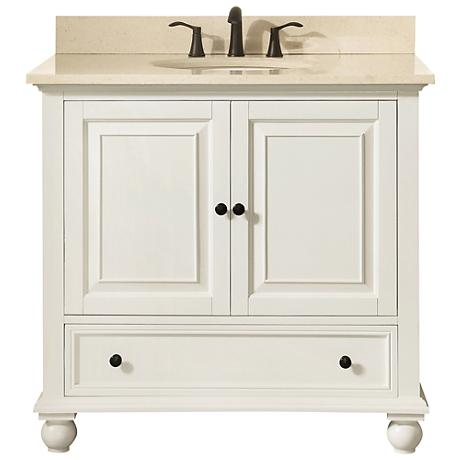 "Avanity Thompson White 37"" Galala-Top Single Sink Vanity"