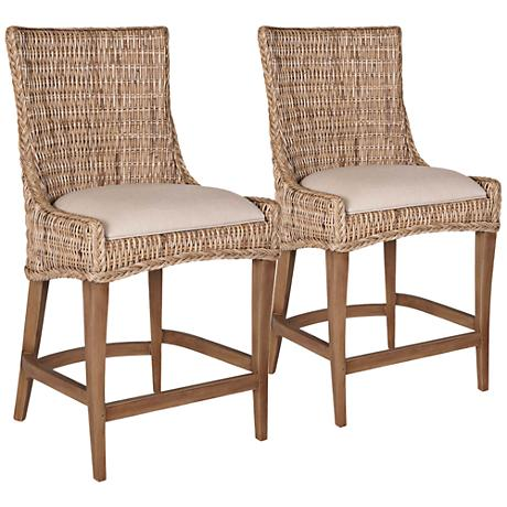 New Wicker Greco Wicker and Mahogany Counter Stool Set of 2