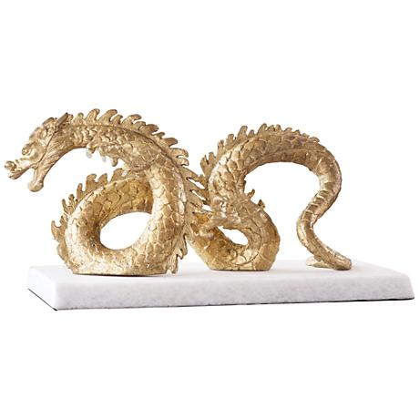 "Chinese Dragon 15 3/4"" Wide Gold Leaf Good-Luck Sculpture"