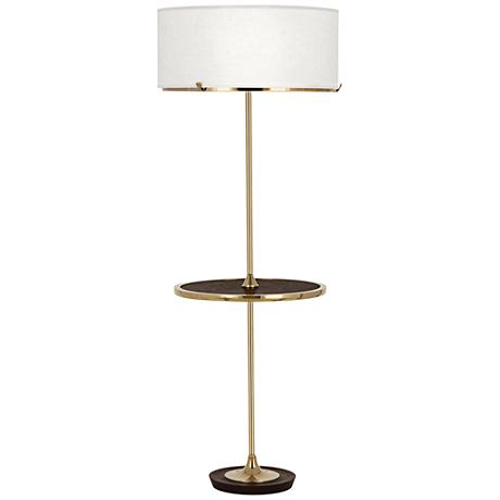 Robert Abbey Edwin Polished Brass Tray Table Floor Lamp