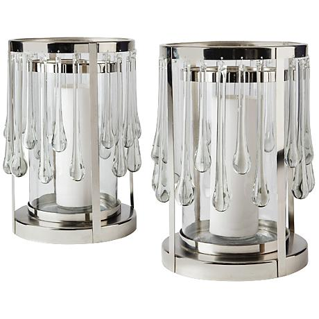 Maison Home Jasper Polished Nickel Pillar Candle Holder Set of 2