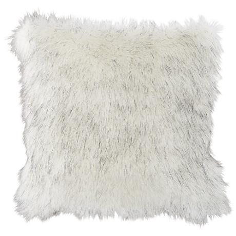 "Polar Bear White 18"" Square Plush Faux Fur Pillow"