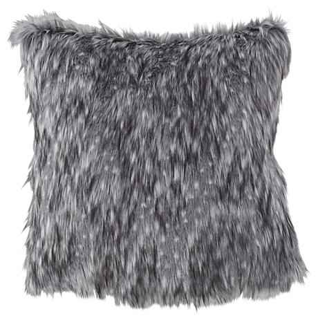 "Wolverine Gray 18"" Square Plush Faux Fur Pillow"