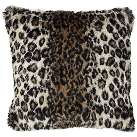 "Wild Leopard 18"" Square Plush Faux Fur Pillow"