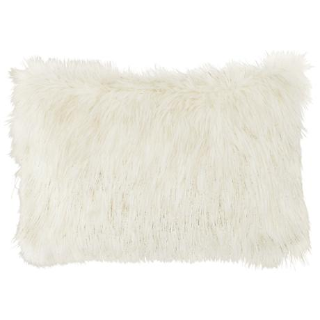 "Glamour Fox Ivory and Gold Specks 20""W Faux Fur Pillow"