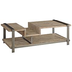 Lambert Steel Weathered Acacia Wood Rectangular Coffee Table
