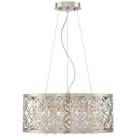"Possini Euro Constance 18"" Wide Brushed Nickel Pendant"