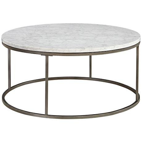 Alana Steel And White Marble Top Round Coffee Table 1p252