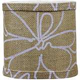 Burlap and White Floral Drum Shade 5x5x4.5 (Clip-On)