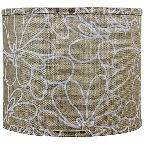 Burlap and White Floral Drum Shade 16x16x13 (Spider)