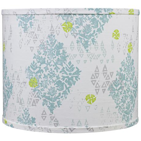 Blue Green Spa Medallions Drum Shade 16x16x13 (Spider)