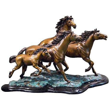 "Henri Studio 4 Galloping 20 1/2""W Brass Horse Sculpture"