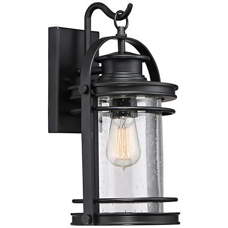 "Quoizel Booker 15"" High Mystic Black Outdoor Wall Light"