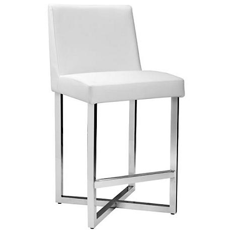 "Howard 25 1/2"" White Faux Leather Counter Stool"