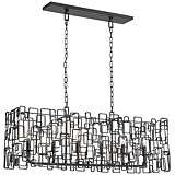 "Crystorama Lattice 40"" Wide Raw Steel Island Chandelier"