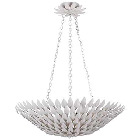 "Crystorama Broche 26 1/2""W Leaves White Pendant Light"