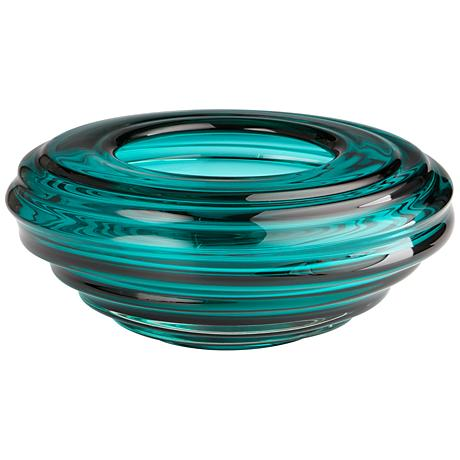 "Adair Turquoise Glass 14"" Wide Ridge Tapered Vase"