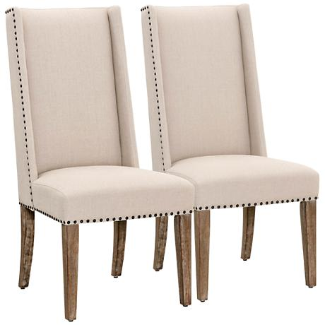Traditions Morgan Stone Linen Dining Chair Set of 2